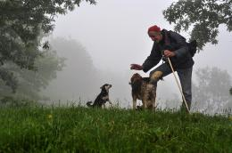 the man and the dogs, North Balkan Mountain, Bulgaria